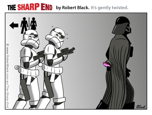 Darth Vader's cape is caught in his pants