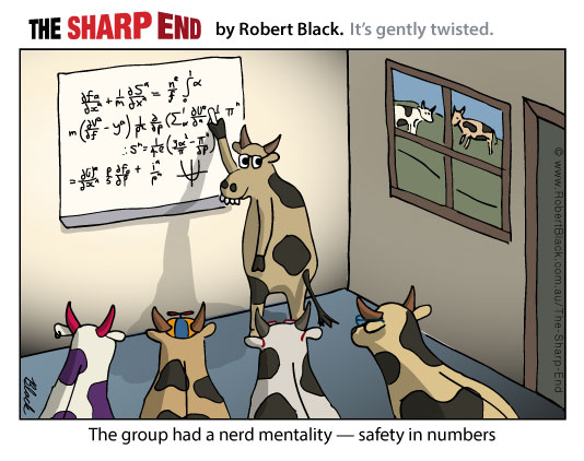 Caption: The group had a nerd mentality - safety in numbers