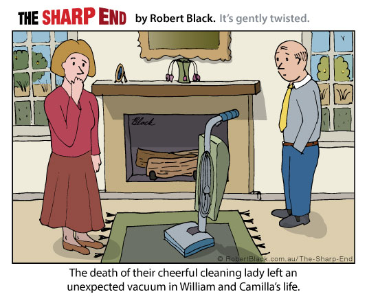 Caption: The sudden death of their cheerful cleaning lady left an unexpected vacuum in William and Camilla's life.