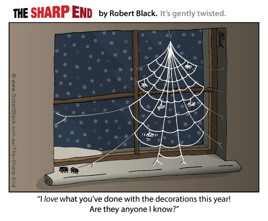 Caption: I love what you've done with the decorations this year! Are they anyone I know?