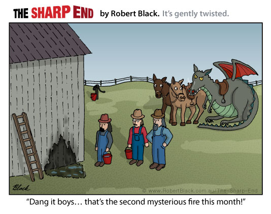 Caption: Dang it boys... that's the second mysterious fire this month!