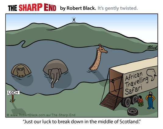 Caption: Just our luck to break down in the middle of Scotland.