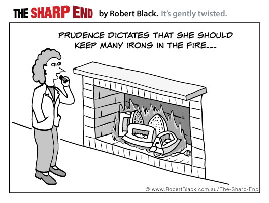 Prudence dictates that she should keep many irons in the fire...