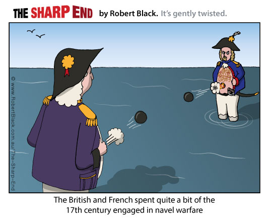 Caption: The British and French spent quite a bit of the 17th century engaged in navel warfare