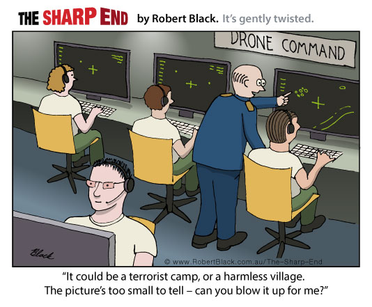 Caption: It could be a terrorist camp or a village.  The picture's too small to tell — can you blow it up for me?