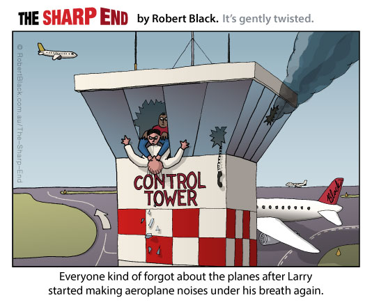 Caption: Everyone kind of forgot about the planes after Larry started making aeroplane noises under his breath again.