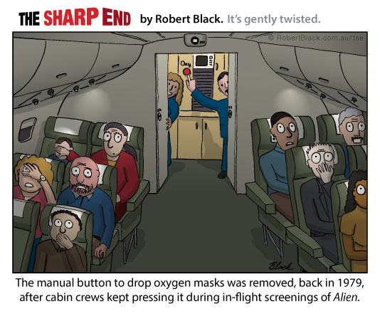 Caption: The manual button to drop oxygen masks was removed in 1979, after cabin crews kept pressing it during in-flight screenings of Alien.