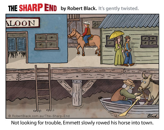 Caption: Not looking for trouble, Emmett slowly rowed his horse into town.